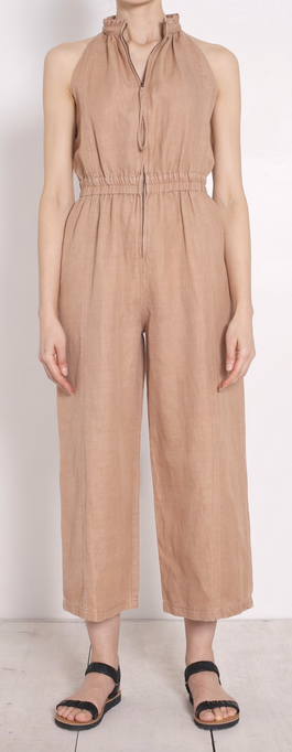 Archer zip front jumpsuit sand