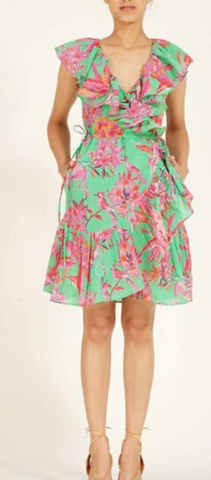 Bellflower mini dress flamingo rhododendron island green