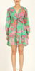Peony mini dress flamindo rhododendron island green cotton voile
