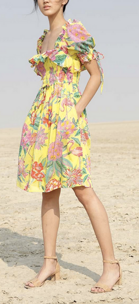 Fox glove mini dress flamingo rhododendron blazing yellow, cotton voile