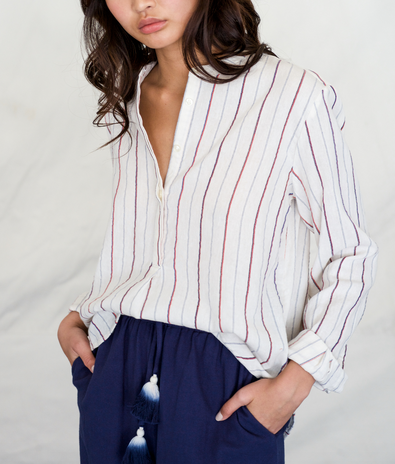 Tori henley button fron shirt white with woven stripes navy red