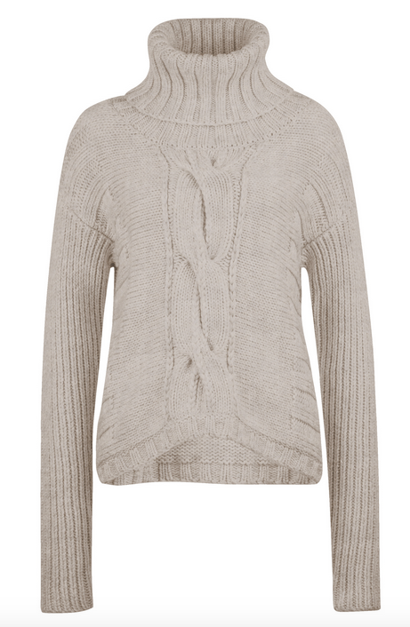 Creamy turtleneck sweater woven detail