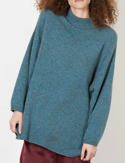 Aleena pond blue mock neck sweater