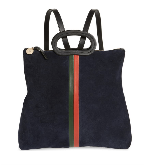 Marcelle navy suede backpack with inlaid stripes