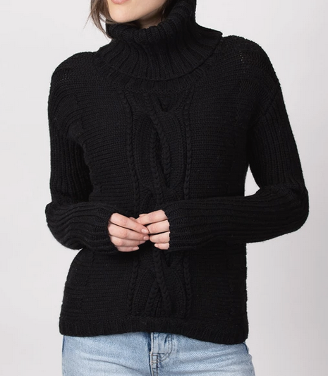 black turtleneck cabled sweater