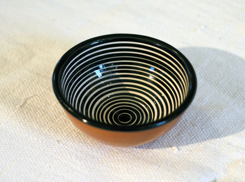 striped small bowl black and white