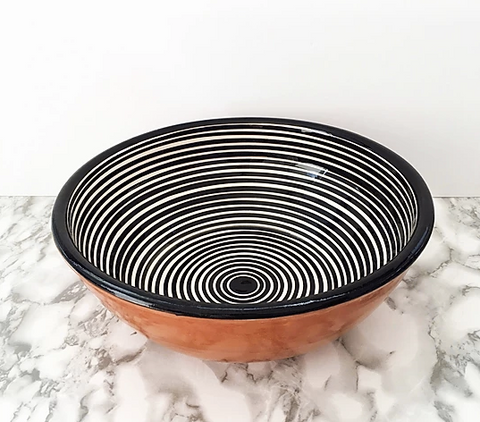 Black large striped salad or serving bowl