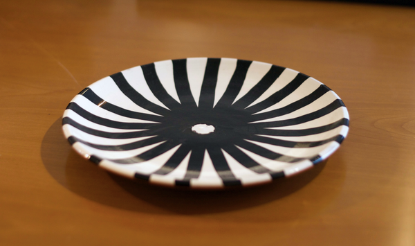 black and white ray pattern salad plate