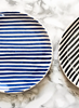 blue stripe salad plate