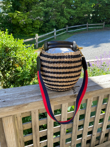 pot de miel black and natural stripe with navy red shoulder strap