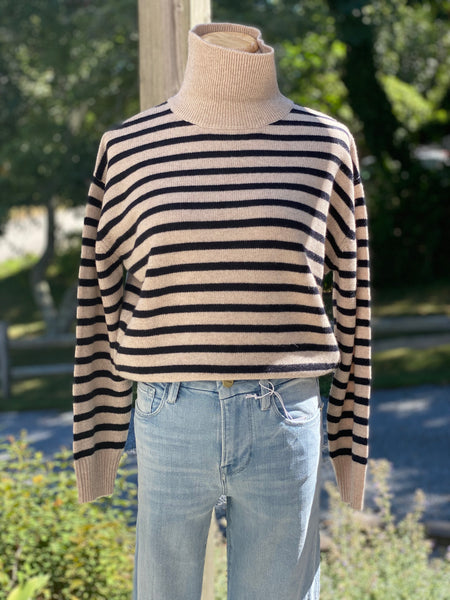 Emerie stripe turtleneck cashmere sweater in chestnut and navy