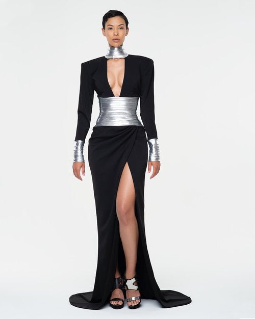 Crepe Gown with Platinum Lame' Detailing $1200