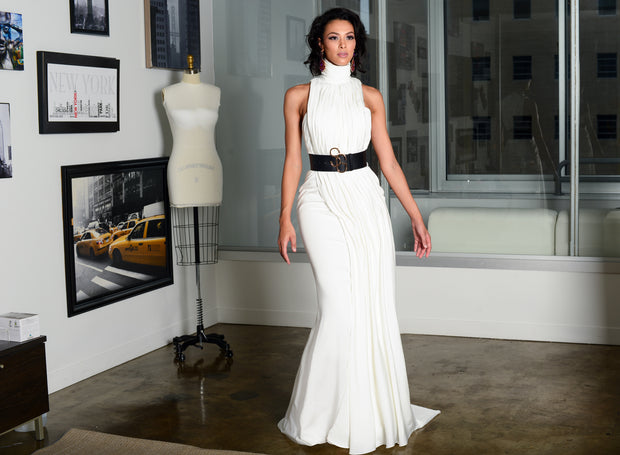 High neck side Pleated Gown