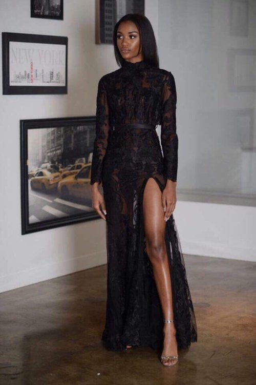 Lace Gown with Split