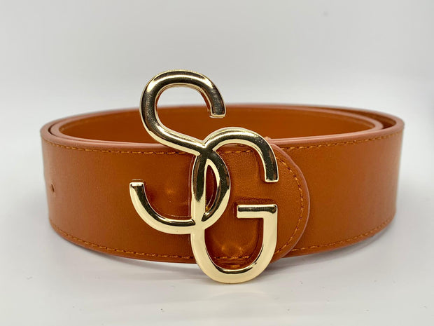 Men's Leather belt with gold SG buckle