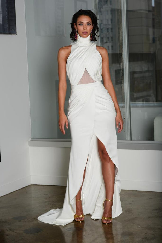 High neck mid split gown