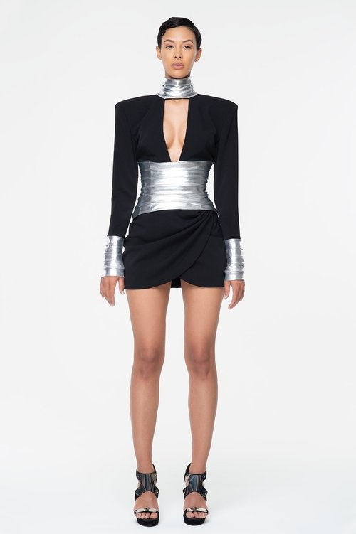 Crepe Micro Mini Dress with Lame' Details $895
