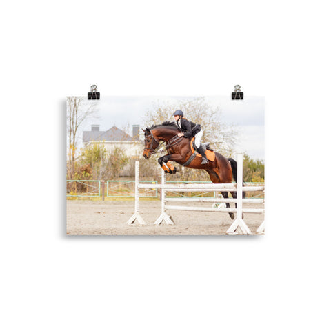 Poster Cheval Saut d'obstacle