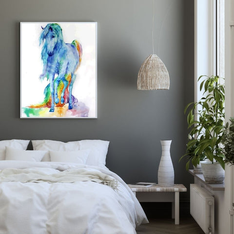 Poster cheval couleur chambre