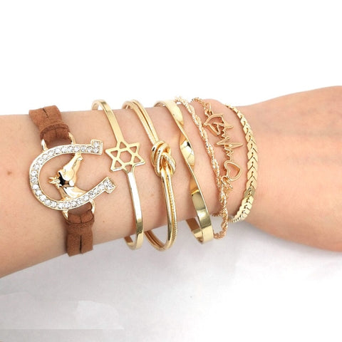 Bracelet Cheval <br> Ensemble doré