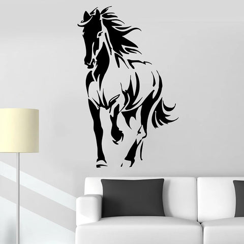 sticker mural cheval noir