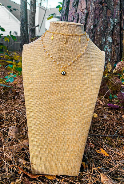 White Moonstone Evil Eye Necklace
