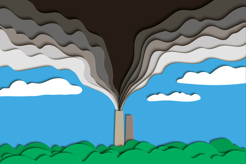 Littorary - artistic image of smoke stack emitting air pollution