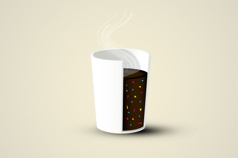 Littorary - cross sectioned single use cup with colorful microplastic particles floating in the coffee