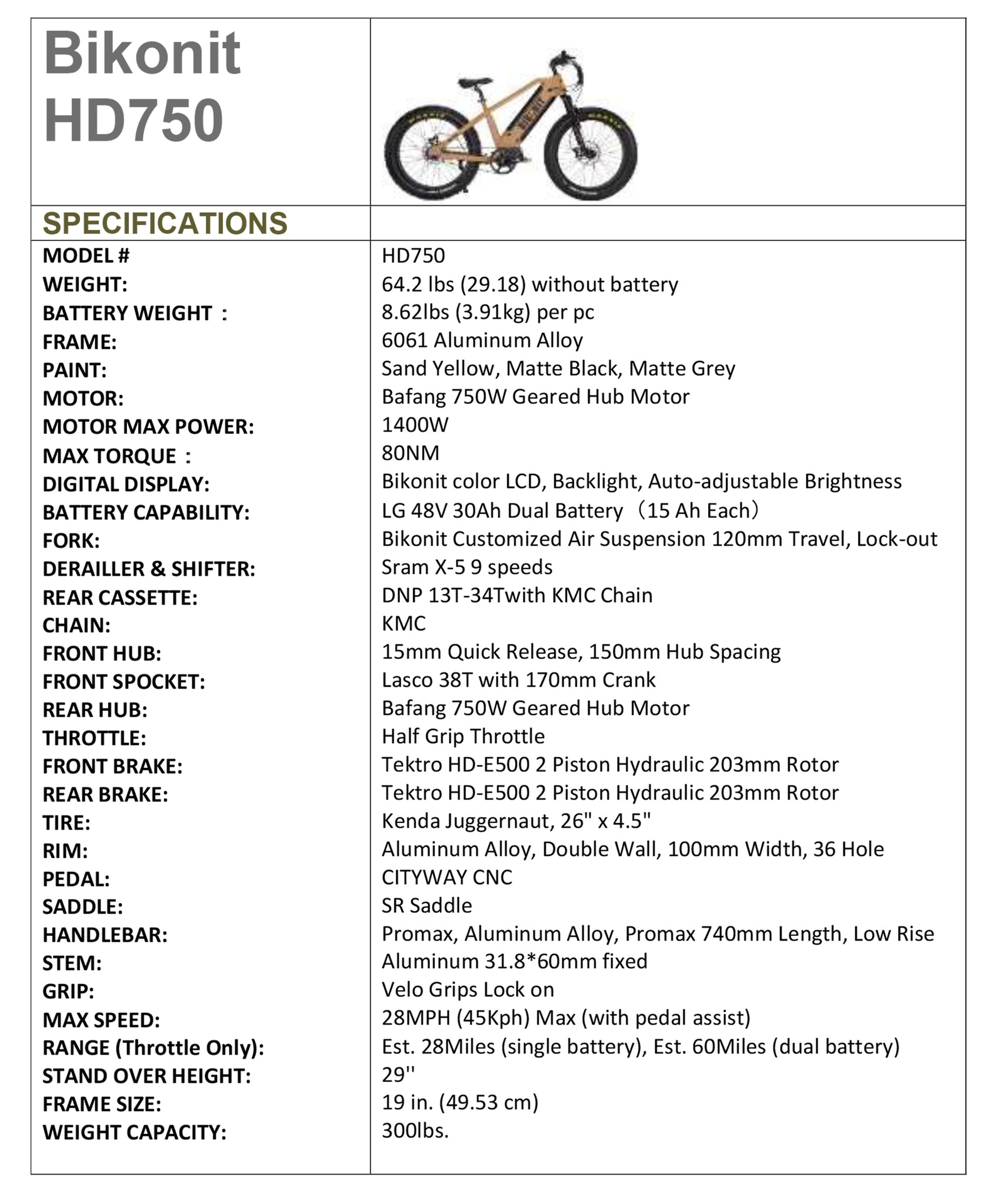 HD 750 Electric Fat Tire Mountain Bike - 750W specs