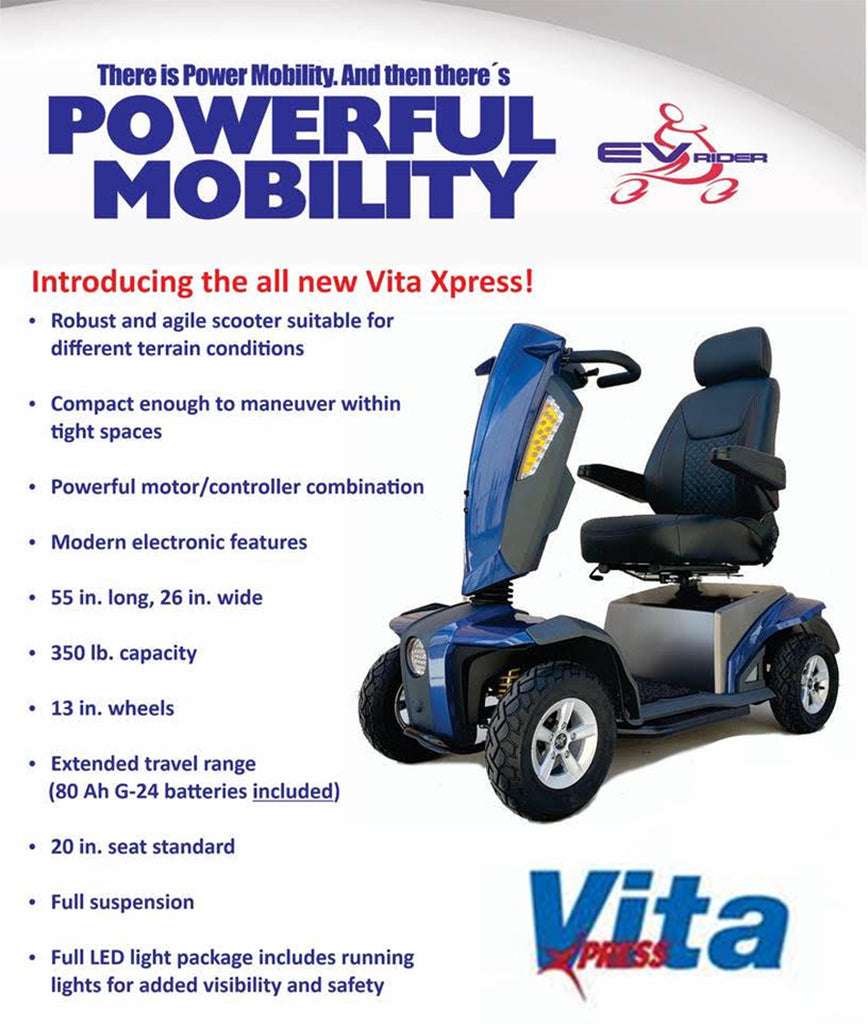 EV Rider VITA EXPRESS All Terrain Outdoor Mobility Scooter - 750W