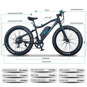 Emojo Wildcat Pro Fat Tire Electric Mountain Bike - 500W - Electric Whispering