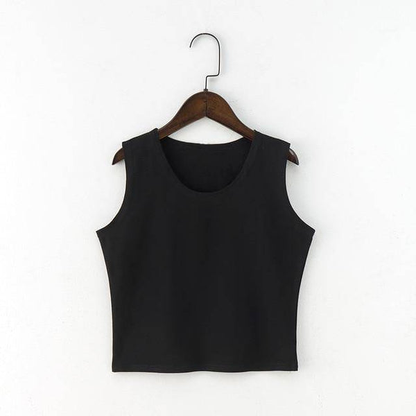 Round Neck Sleeveless Crop Top