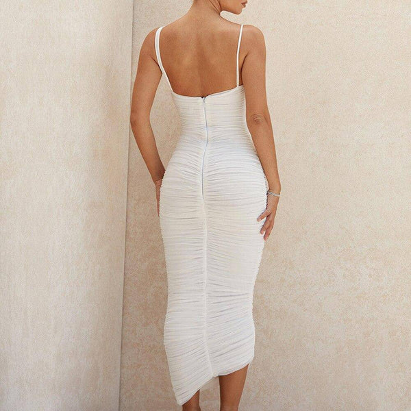 Mesh Slip Midi Bodycon Dress