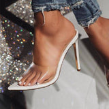 Clear Transparent Open Toe Thin High Heels