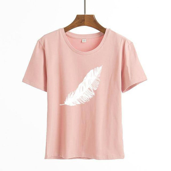 Feather Print Loose Short Sleeve Tee