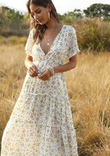 Floral Print Boho Long Dress Ruffle Short-Sleeve V-neck