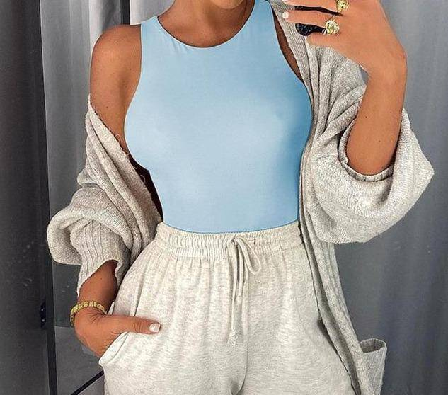 Sleeveless Bodysuit Casual O Neck