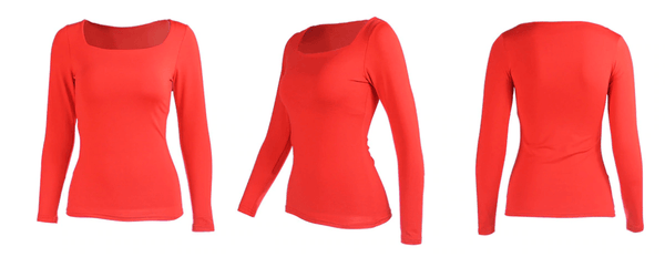 Square Neck Casual Long Sleeve Top