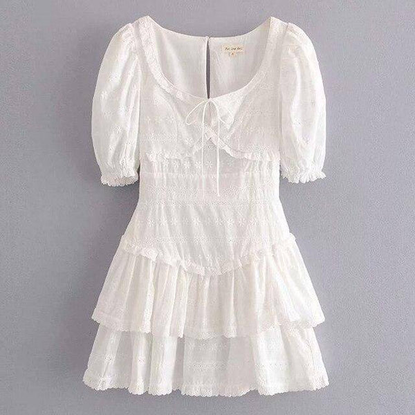 Floral Embroidery Dress Women Puff Short Sleeve