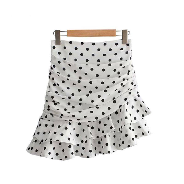 Polka Dot Ruffled Mini Skirt