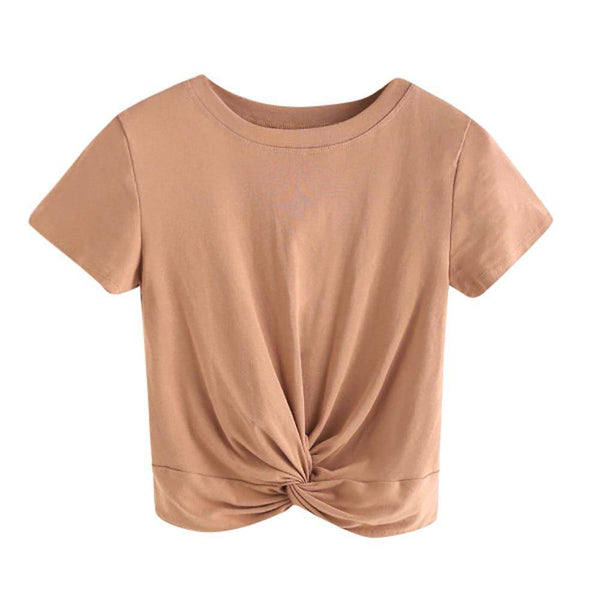 Short Sleeve Twist Front Crop Tee
