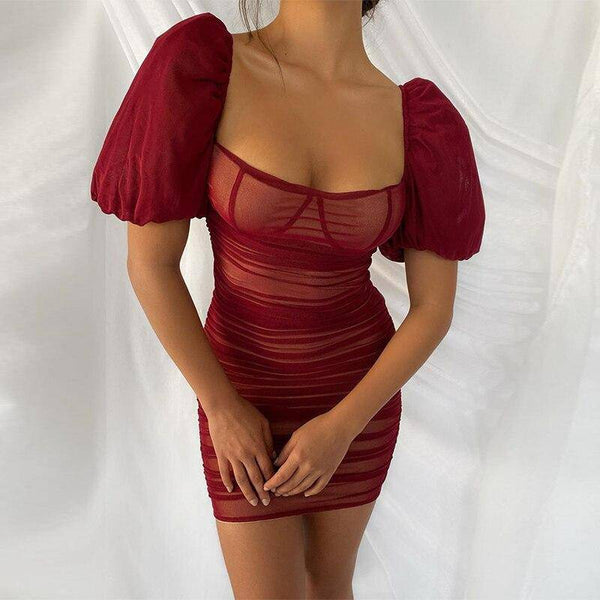 Bustier Puff Sleeve Bodycon Dress