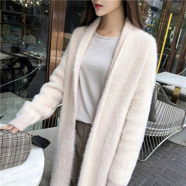 Sweet Fluffy Casual Style Cardigan V-Neck Full Sleeve