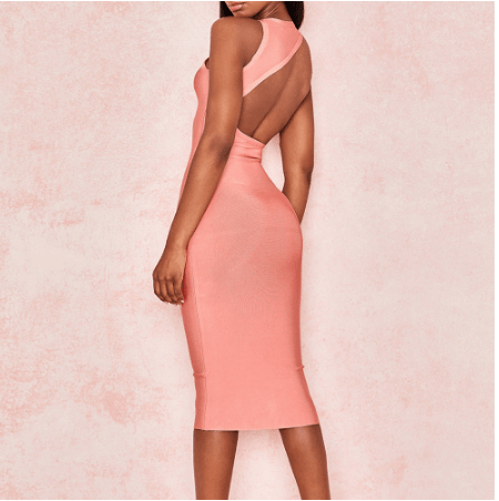 Bandage Dress Pink Bodycon Midi