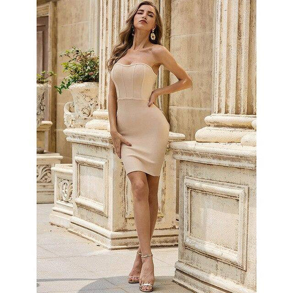 Strapless Nude Bandage Dress Mini
