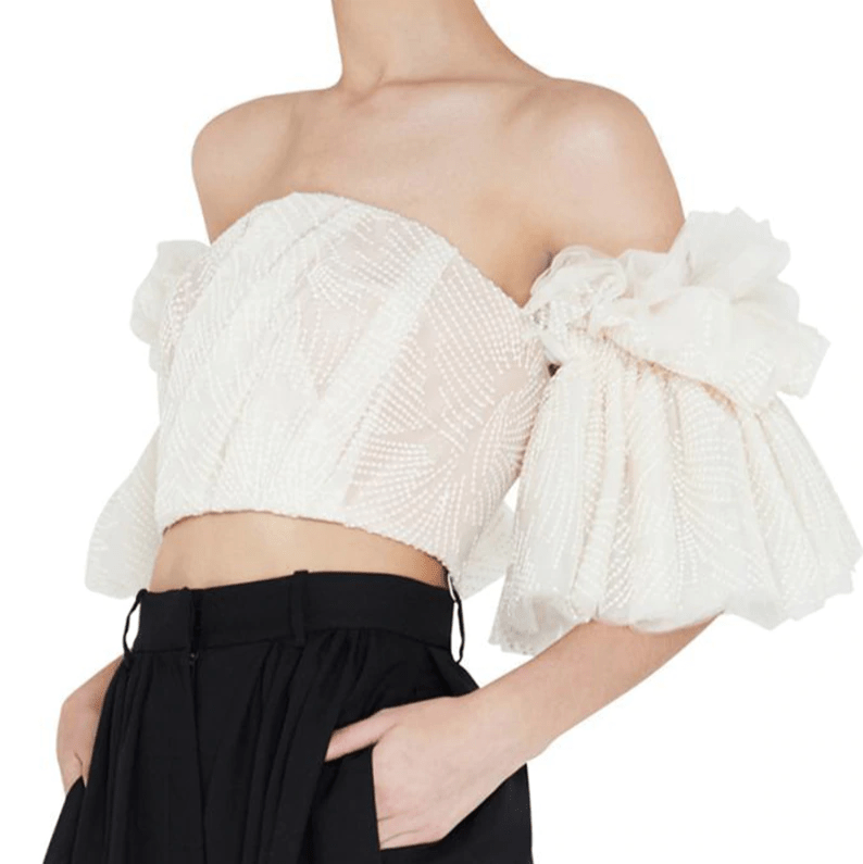 Strapless Cream Embroidery Ruffle Flare Top