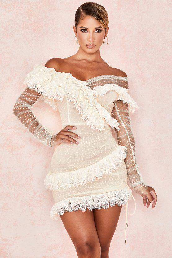 Lace Frill Ruffle Mini Dress