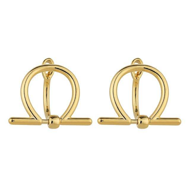 Unique Design Golden Geometric Stud Earrings
