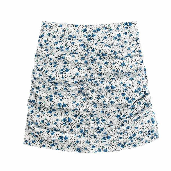 Floral Print Pleated Mini Skirt