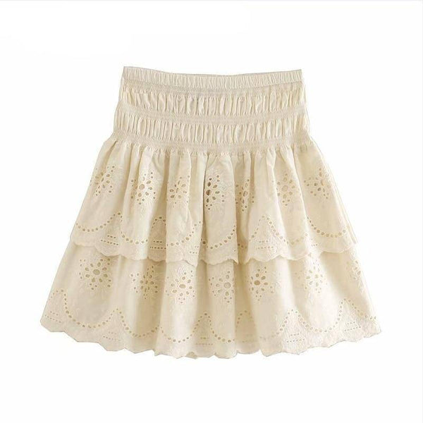 Embroidery Elastic Waist Mini Skirt